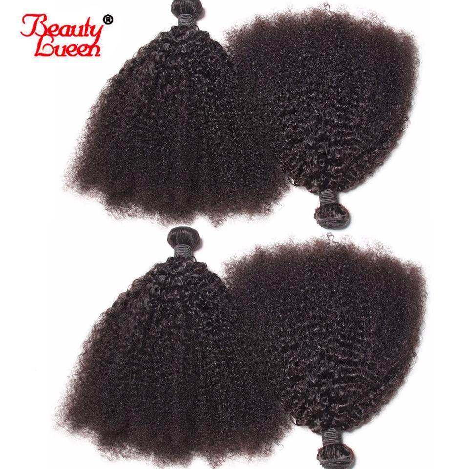 Afro Kinky Curly Weave Human Hair Bundles Natural Black 4 Bundles Brazilian Hair Weave Bundles 8-22 Non Remy Hair Beauty Lueen