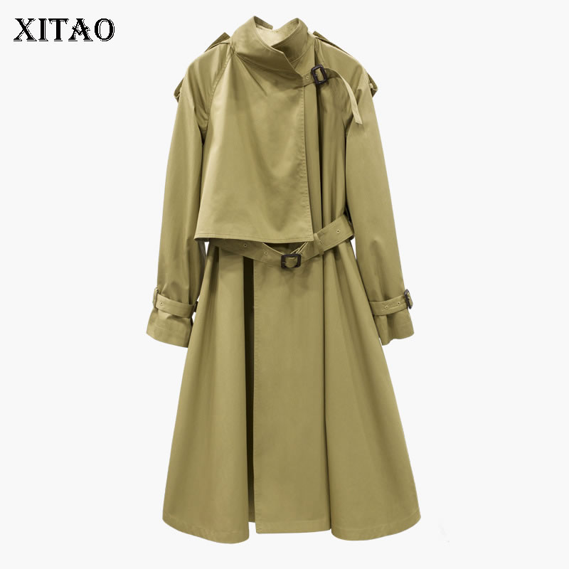 [XITAO] 2018 Autumn Europe Fashion New Women A-line Turn-down Collar Full Sleeve Long   Trench   Female Solid Color   Trench   LJT3614