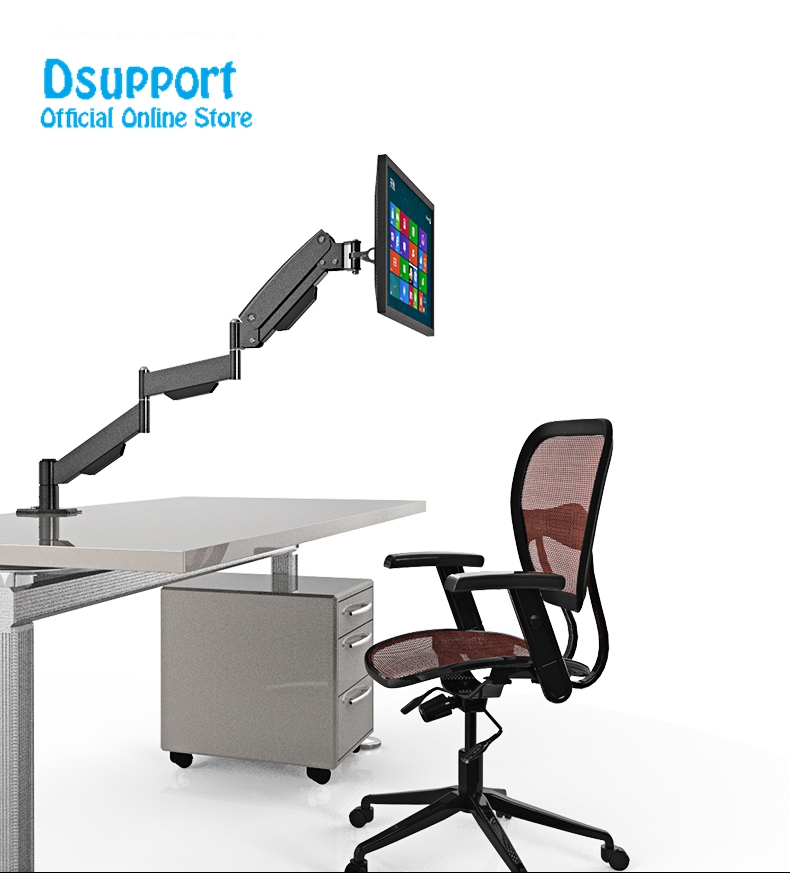 "L155 Gas Spring Long Arm 17-27"" LCD Computer Monitor Holder Full Motion TV Mount Desktop Bracket"