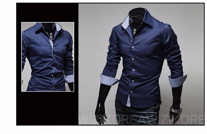 Mens Casual Shirts 2016 Hot Sale Mens Slim Fit Dress Long Sleeve Shirts Soild Male Social Shirts Designer Chemise Homme 3XL 25 4