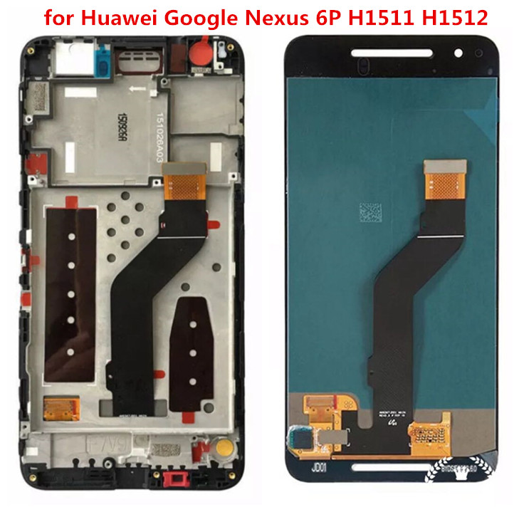 H shirleyLCD Display Touch Screen Digitizer Glass + Frame Assembly Black for Huawei Google Nexus 6P H1511 H1512 Replacement Part