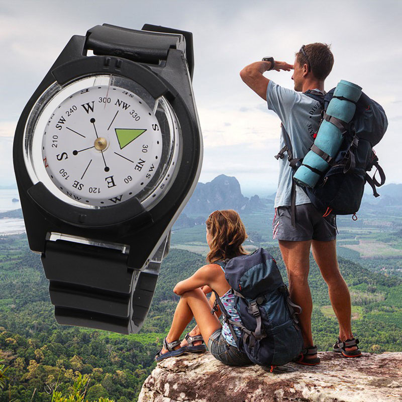 Tactical Wrist Compass Outdoor Camping Tool Survival Adventure Hiking Tourism Equipment Fishing Hunting Accessories Black Band (4)