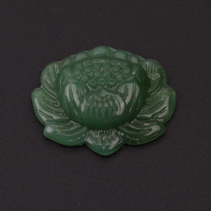 """1 шт. ручной резной """"Цветок лотоса"""" кулон яркие натуральный зеленый нефрит жадеит Jewelry Подвеска Поиск вечерние подарок"""