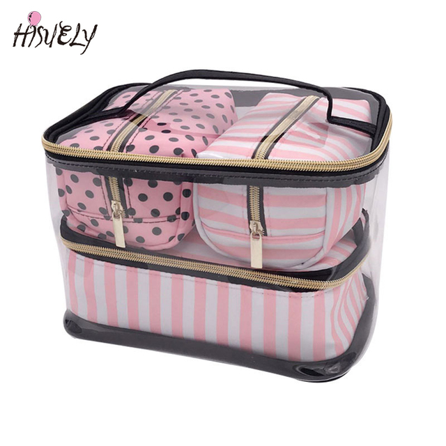 23866ad9b496 Travel Toiletry Bag PVC Transparent Cosmetic Bag Set Pink Make-up Organizer  Pouch Makeup Case