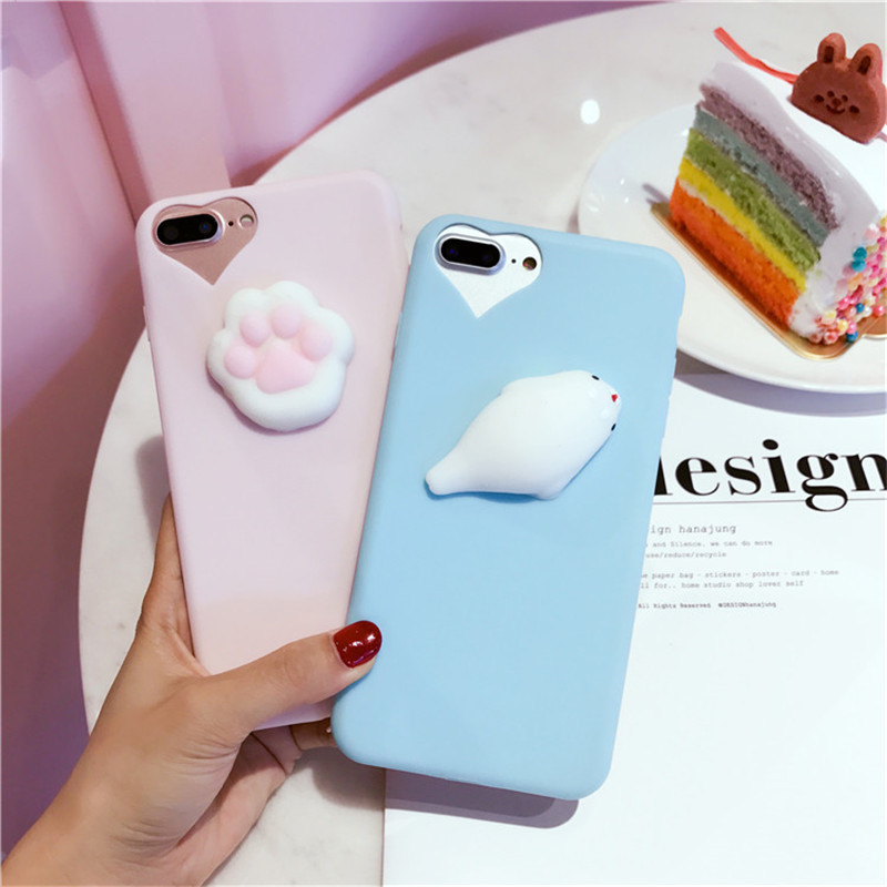 Squishy Case For Iphone 5s : 3D Cute Cat Seal Lion Dog Squishy Phone Case for iPhone 7 Cases 6 7 Plus 5 5S Soft TPU Candy ...