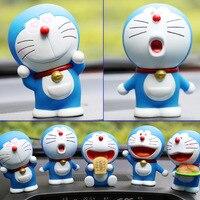 5pcs Lot 10cm New Doll Bobble Head Doraemon Shaking Head Toy Model Interior Car Decoration PVC