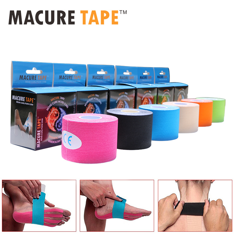 Macure Tape 6 Roll Kinesiology Sports Roll 5m Kinesiologie Tape Synthetic Kinesiologia Tape Elbow and Knee