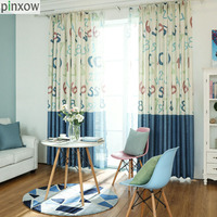 Children Window Curtains Blue Cartoon Boys Bedroom Curtain Panels Linen Drapes Kids Room Printing Tulles Sheer