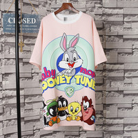 Fashion Summer Cartoon Animal Printing T Shirts Dress Oversize Loose Short Sleeve Dress Bunny Printed Pink