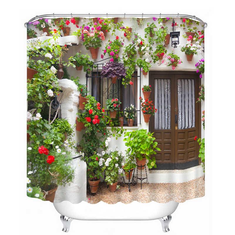 ثلاثية الأبعاد عرض دش الستار الزهور المشهد جدار نمط ستارة الحمام مقاوم للماء قابل للغسل ستارة حمام للتخصيص