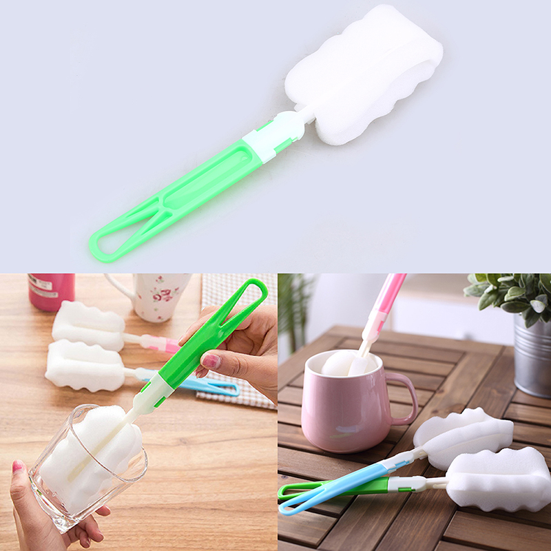 WCIC Useful Sponge Cleaning Brush Milk Bottle Cup Glass Mug Washing Cleaning Tool Kitchen Cleaner with Plastic Detachable Handle