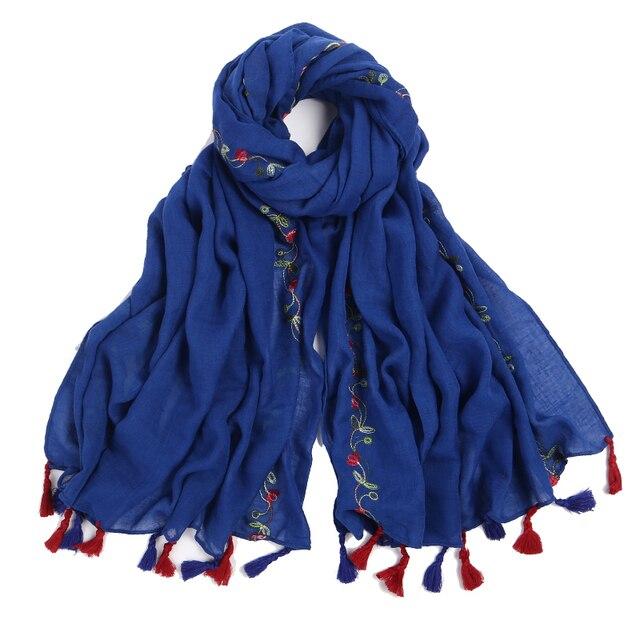 Bufanda bordada de señora foulard chal para mujer de la india chal bufandas invierno pashmina algodón gasa bufanda de lujo marca 2018 nuevo