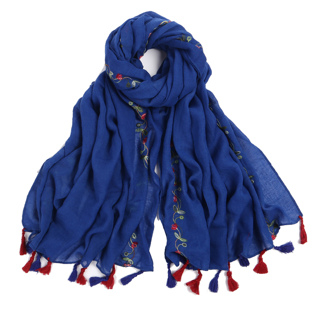 lady foulard embroidered scarf shawl for women from india shawl scarves winter pashmina cotton voile scarf luxury brand 2018 new