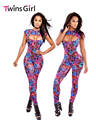 2017  New Fashion Sexy Rompers Womens Jumpsuit Neon Graphic Maze Print Jumpsuit LC6667