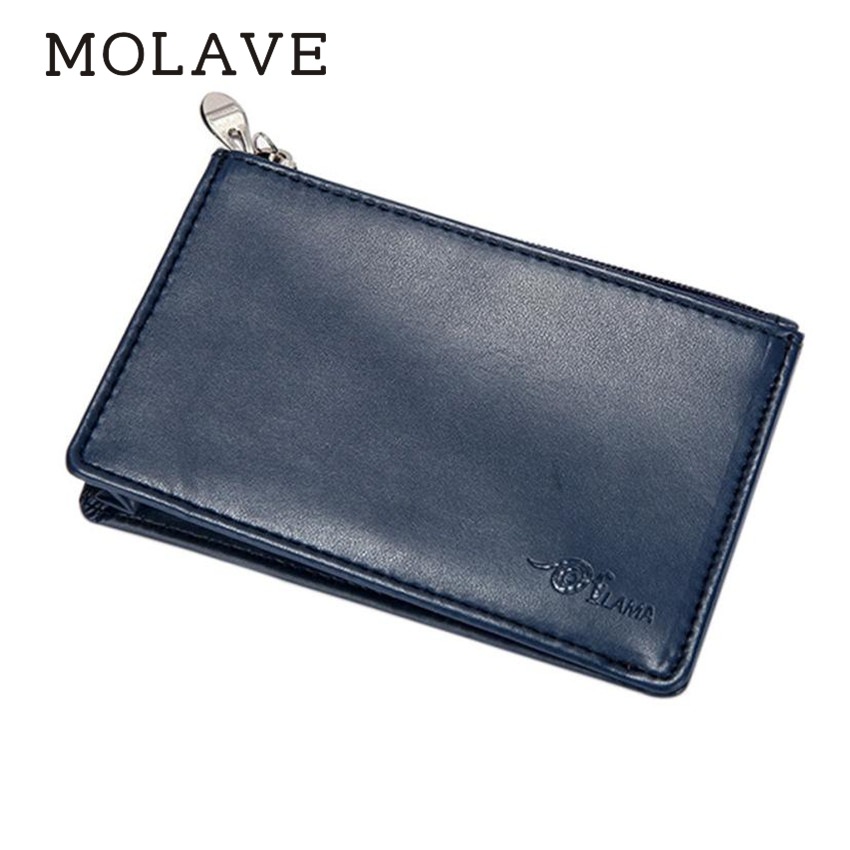 MOLAVE wallets wallet male Solid coin purse Zipper Slim Mini Wallet Cow Leather Credit Card Case Men ID Holder wallets Feb13
