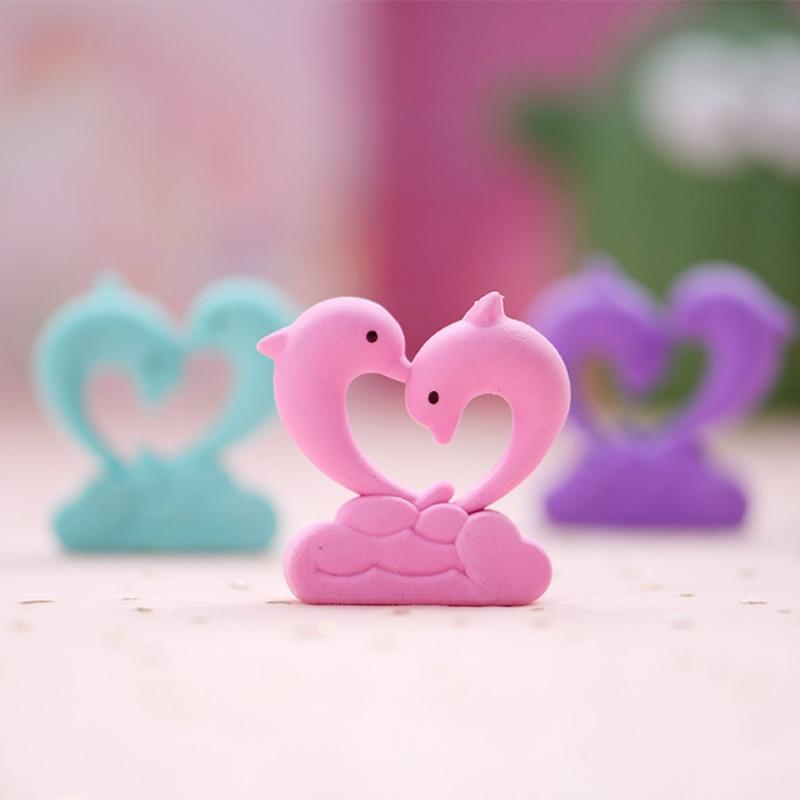 Kawaii Dolphin Love Eraser School Office Rubber Eraser Collection Decoration Child A Reward Gift Pencil Correction Supplies