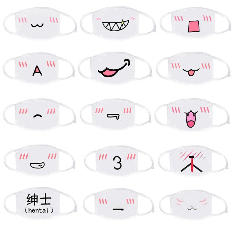 1 Pc Unisex Anti Staub Baumwolle Halbe Gesicht Mund Maske Cartoon Kawaii Emoji Shy Ausdruck Gedruckt Radfahren Schutz Abdeckung Ohrbügel El