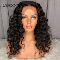 COLODO 360 Lace Frontal Deep Wave Lace Front Wigs with Pre Plucked Baby Hair Bleached Knots Brazilian Remy Human Hair Wigs