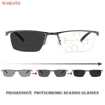 ca66f98c18 WEARKAPER transición fotocrómica gafas de lectura hombres ajustable visión  Multifocal dioptrías progresiva gafas de lectura