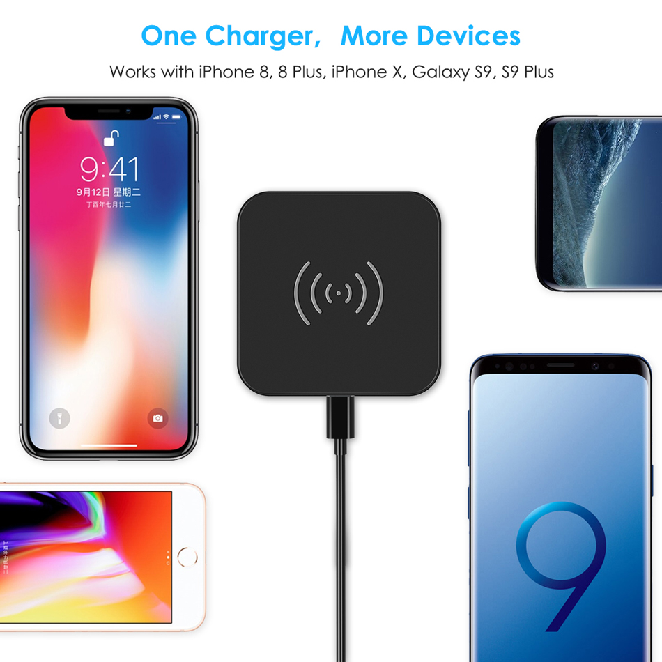 Image 5 - CHOETECH Wireless Charger Anti Slip Rubber 5W Qi Charging Pad Charger With Micro USB Cable For Samsung S8 Note 8 For iPhone X 8-in Mobile Phone Chargers from Cellphones & Telecommunications