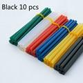 black 10 pcs Hot melt adhesive rod 7mm hot melt adhesive, silica gel glass melt adhesive glue stick color
