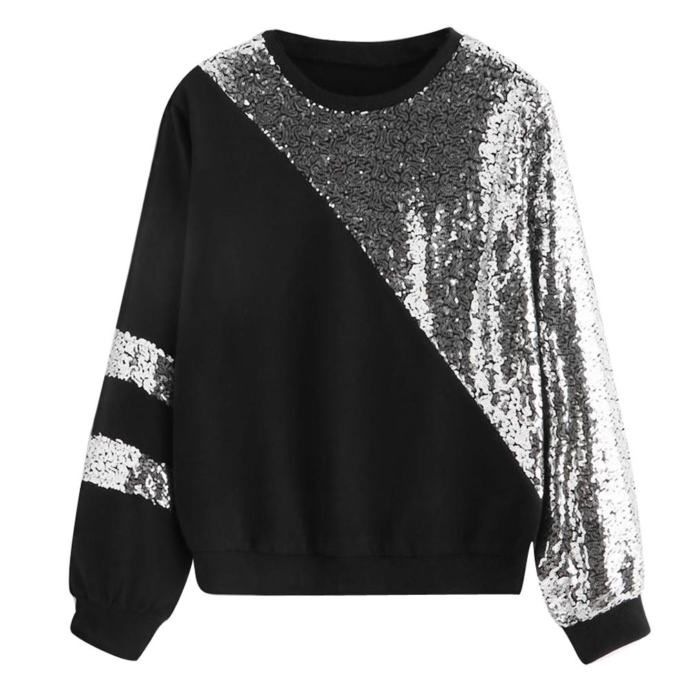f4d711488a8 hoodies for women Sexy Casual Long Sleeve Cut And Sew Panel shiny Sequin  Sweatshirt super quality