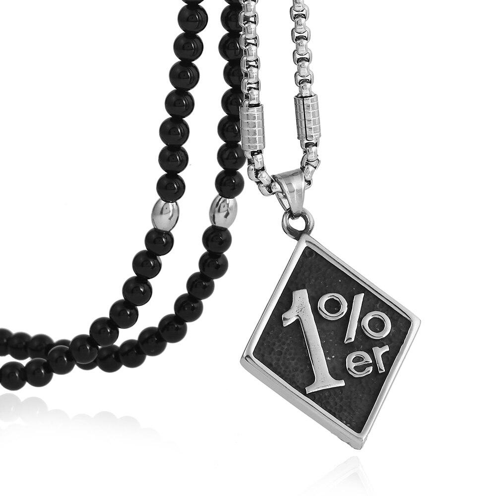 BLEUM CADE männer Kühlen 316L Edelstahl 1% er Anhänger Halskette, mit Schwarze Natürliche Achat Stein Kette 26
