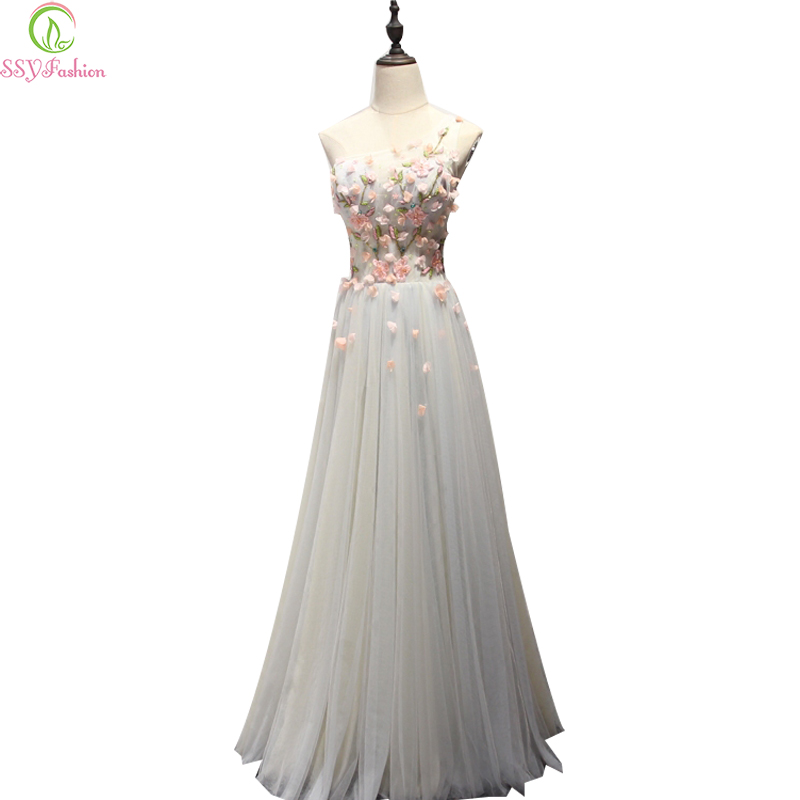 SSYashion 2017 New Sweet Lace Flower   Bridesmaid     Dresses   The Bride Banquet Elegant One Shoulder Sleeveless Long Formal Party Gown