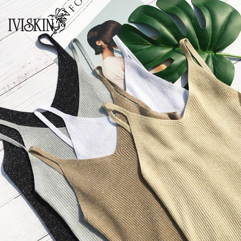 Crop   Tops   Women 2018 Sexy Knitted   Tank     Tops   Gold Thread   Top   Vest Summer Camisole Women White   Tank     Top   Fitness Femme T shirt