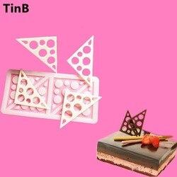 2019 Triangles Silicone gâteau moule sucre artisanat Fondant moule chocolat moules outils de cuisson pour gâteaux anniversaire gâteau bordure pochoir