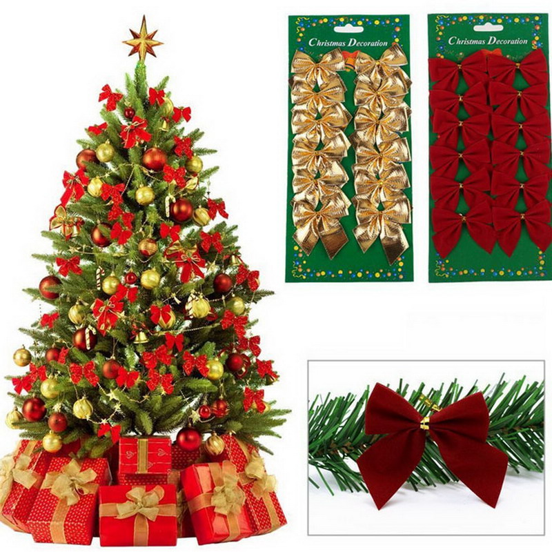 12 Pieces / Lot Christmas Decorations Trees Bow Pendant Ornaments Santa Claus Christmas Red Silver Gold For Christams