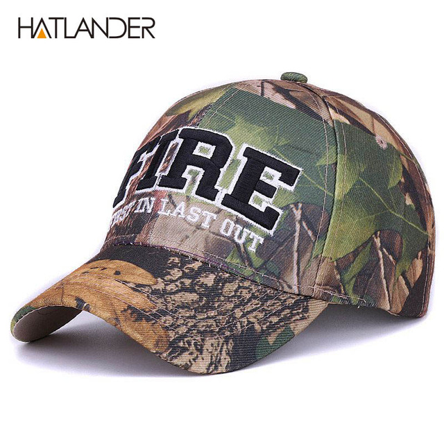 HATLANDER FIRE letters sports caps camo outdoor curved fishing hats fitted  hip hop camouflage e57255da9db7