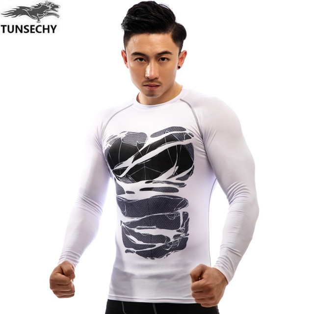b09c8e15f425 TUNSECHY Fashion Brand men Long sleeve tight T-shirts men s clothes fashion  fitness compressed T-shirt Wholesale and retail