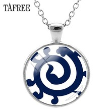 TAFREE Spiral Azulejo Portugues Pendant Necklace Fashion Metal Chokers Friendship Necklaces Silver Color Attractive Jewelry AP44(China)