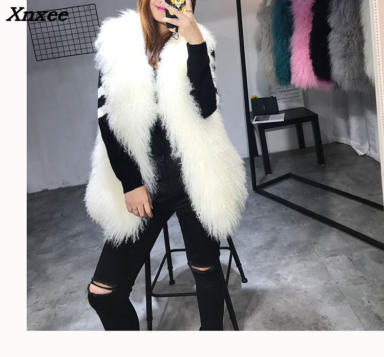 Xnxee BIG SALE FAST SHIPPING hot new natural fox fur long vest fox fur gilet winter high quality women fox Xnxee