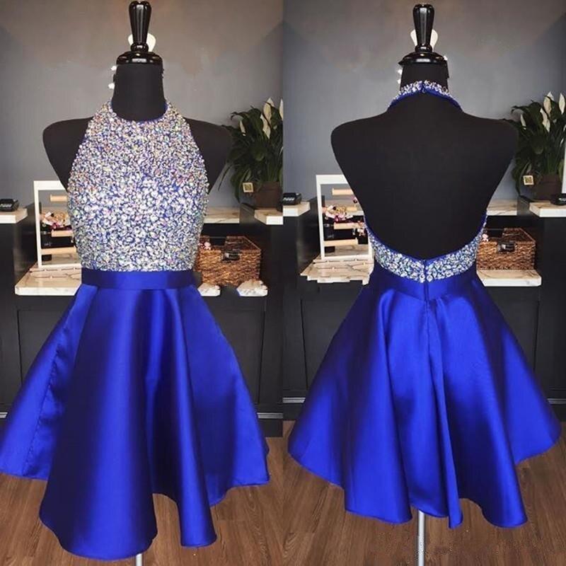 Holievery perlée Satin courte robes de bal avec licou cou 2019 Royal bleu foncé rouge genou longueur partie retour robe