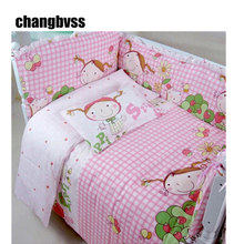 Pink Lovely Girl Print Baby Bedding Set for Girls,Cartoon Infant Baby Crib Bedding Set,10pcs Toddler Bed Sets,Paracolpi Lettino