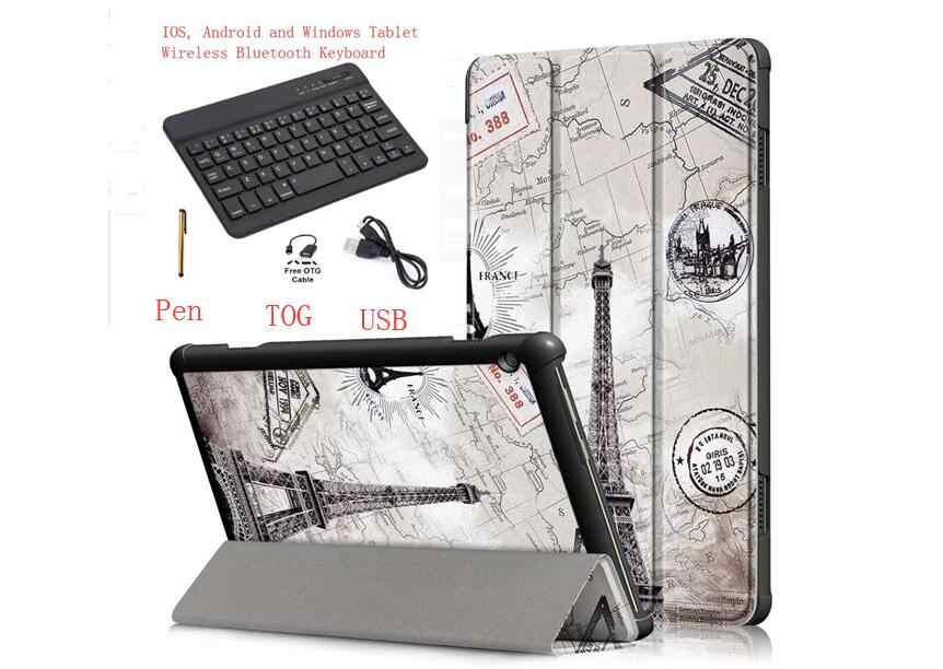 "Keyboard Case for Lenovo Tab4 TAB 4 10 Plus TB-X704F TB-X704N TB-X704L 10.1"" tablet PU Leather Bluetooth keyboard Cover + Pen"