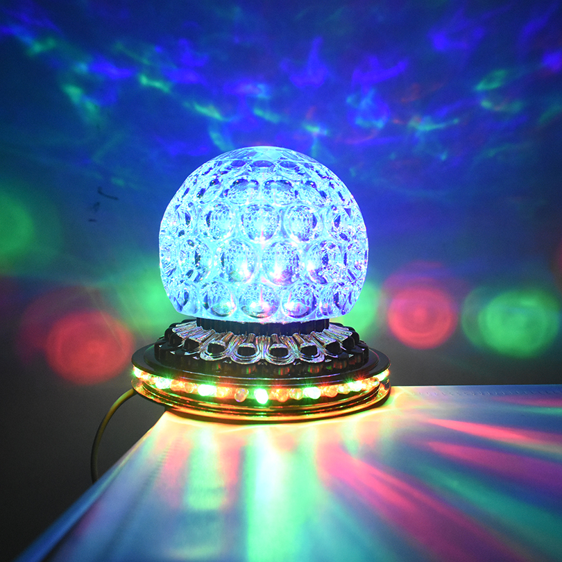 Купить с кэшбэком Mini Rotating Colorful LED Stage Light Home Christmas ktv Party DJ Disco Effect Light Crystal Magic Ball Strobe Stage Lighting