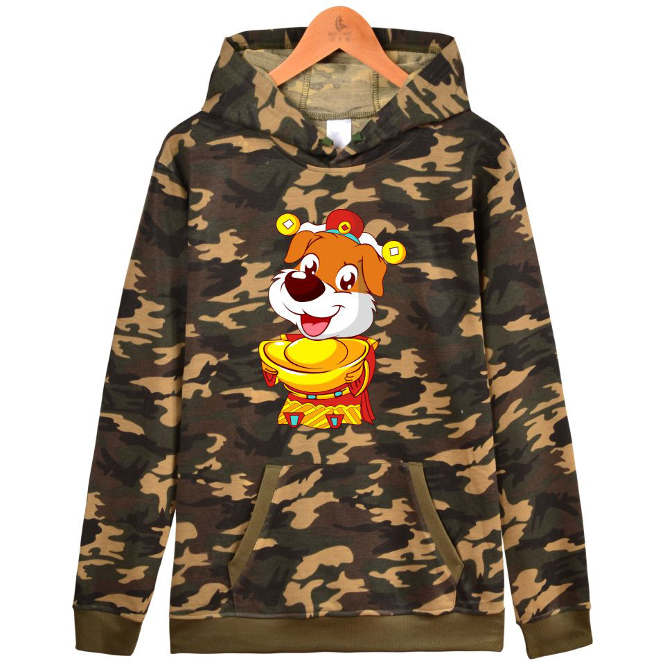 luckyfridayf BTS 2018 New Year Of The Dog Camouflage Hooded Women Winter tracksuit Mens Hoodies Sweatshirts Casual Clothes