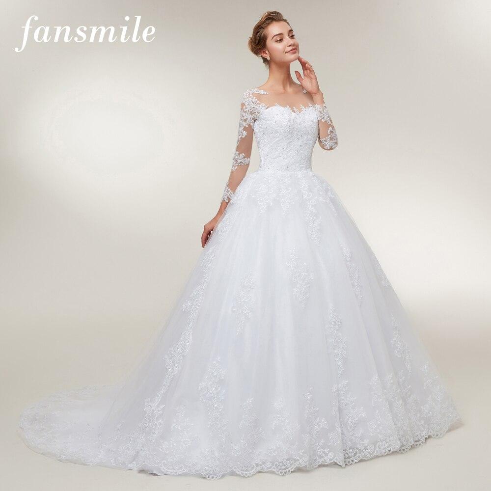 Fansmile Tulle Mariage Lace Ball Gowns Wedding Dresses 2019 Long Train Vestido De Noiva Custom-made Plus Size Wedding FSM-401T