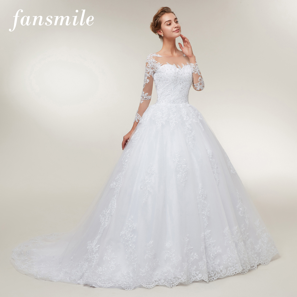 Fansmile Tulle Mariage Lace Ball Gowns Wedding Dresses 2020 Long Train Vestido De Noiva Custom-made Plus Size Wedding FSM-401T