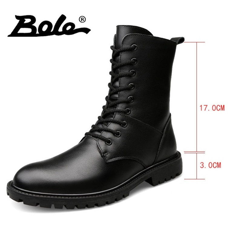 BOLE gran tamaño 37-48 Primavera y botas de invierno de cuero cómodo encaje hasta nieve 3 cm plataforma impermeable los hombres del Alto-top botas