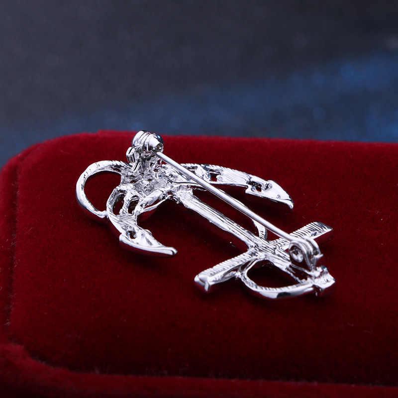 Eropa Fashion Emas Warna Kristal Jangkar Bros Fashion Perahu Kemudi Kerah Pin Perhiasan Kemeja Kerah Sesuai dengan Pin Bros Pria Hadiah