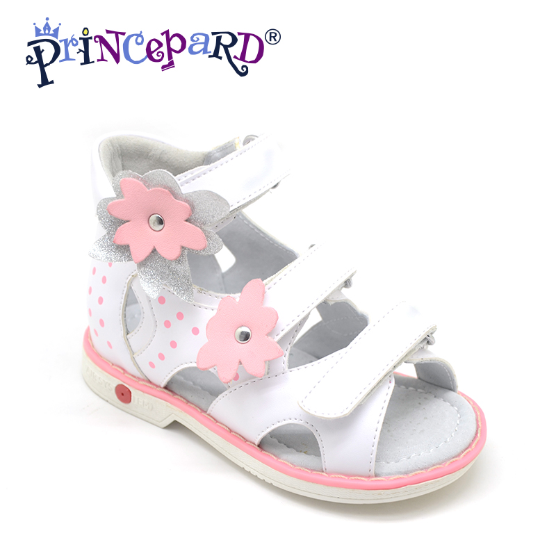Princepard Need Customize in Advance 20 days Orthopedic shoes for girls white genuine leather sandals