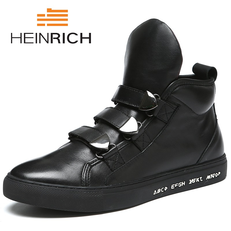 HEINRICH New Brand High Quality Spring/Autumn Shoes Men Super Warm Leather Boots Fashion High Top Man Ankle Boots Askeri Bot 2018 fashion new men ankle martin boots basic high quality real genuine leather spring autumn luxury brand man black shoes 38 44