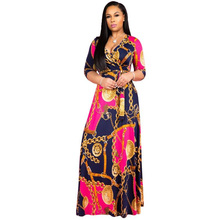 African Costumes Plus Size Party Dress Fashion Trend Print Long Maxi V-neck Ladies Dashiki Women Clothing