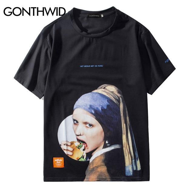 GONTHWID Mädchen mit einer Perle Ohrring T Shirts Männer Lustige Gedruckt Kurzarm Streetwear T-shirts 2019 Männlichen Hip Hop Casual tops Tees