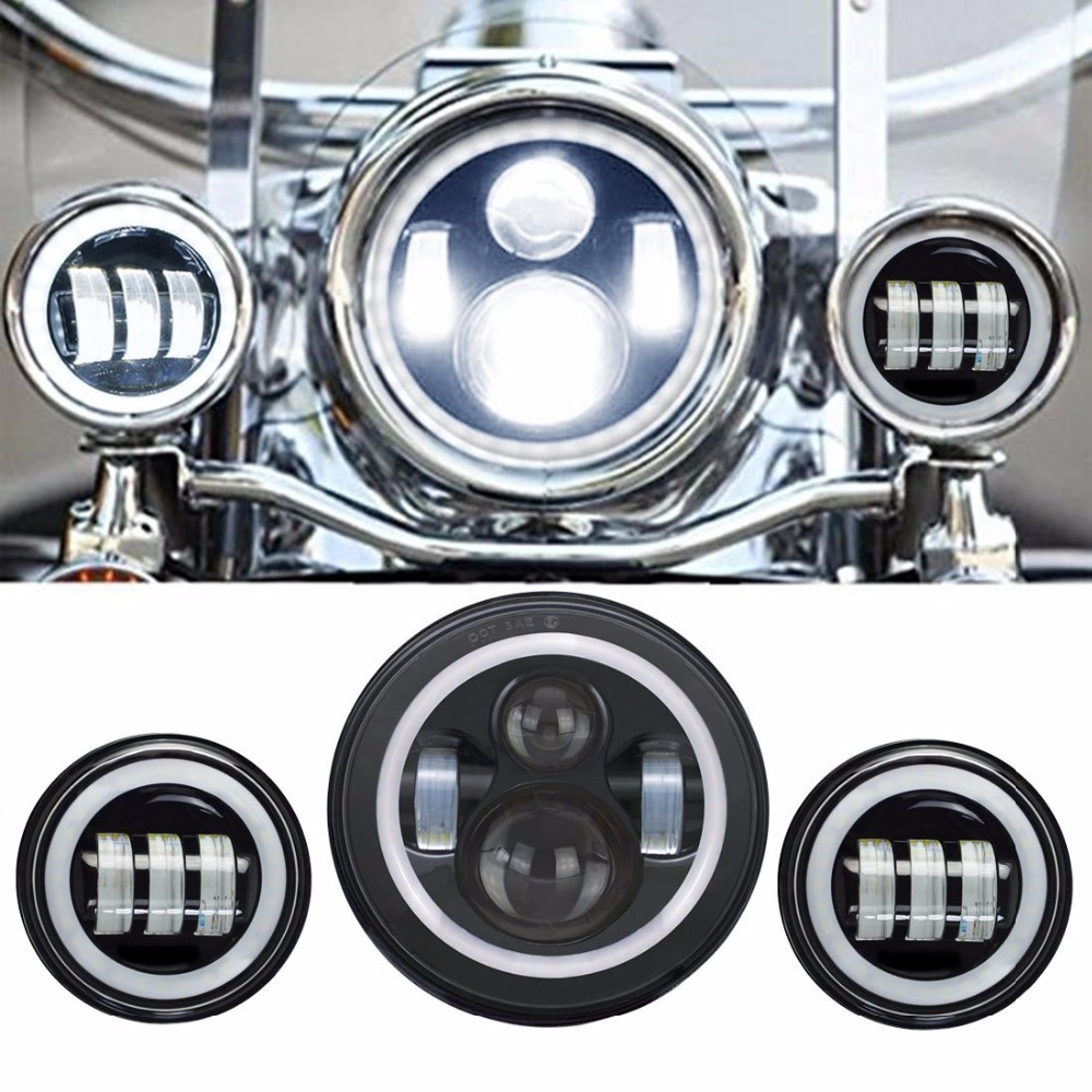 7 Inch Harley Motorcycle Daymaker Led Headlights White Halo Angel Eye / DRL +2pcs 4.5Inch Harley Led Fog Lights Halo Ring DRL 7 inch round led headlightdaymaker drl angel eye with 4 5 inch fog lights halo with 7bracket support ring for jeep