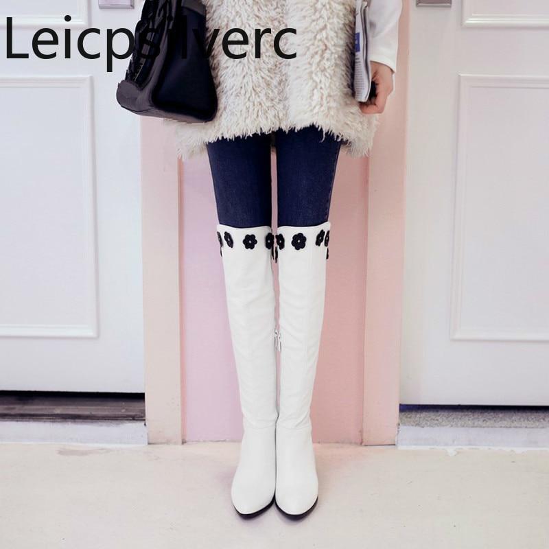 100% Wahr Frauen Stiefel Winter Neue Stil Spitz Color Passenden Blume Zipper Starke Ferse High Heel Frauen Hohe Stiefel Plus Größe 32-46